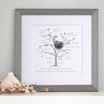 Personalised Silver Anniversary Photo Family Tree
